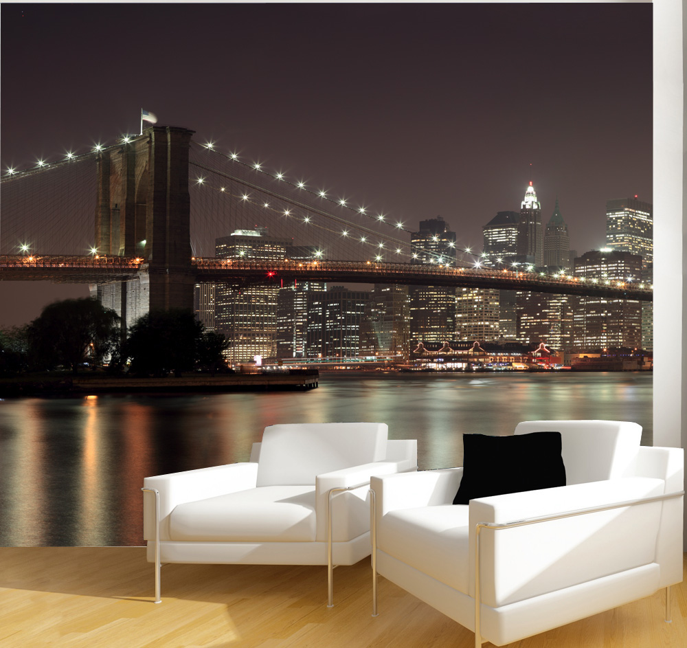 une vue sur new york sur le mur du salon avec le papier peint panoramique cuisine. Black Bedroom Furniture Sets. Home Design Ideas