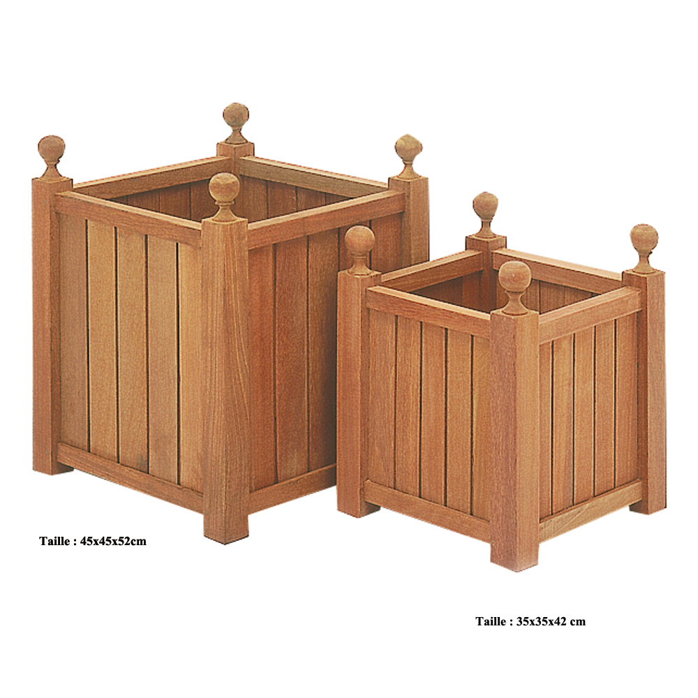 une jardini re en bois exotique carr e pour d corer le balcon avec l gance poteries et bacs. Black Bedroom Furniture Sets. Home Design Ideas